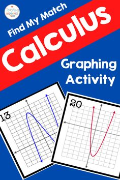 This is a set of cards you can use with your calculus class to practice curve sketching.  Match the equation to the graph to the derivative. #funinmathclass #calculus Find My Match, Graphing Activities, Calculus, Sketching, Equation, High School, Classroom, Math, Cards