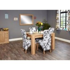 Aston Oak Furniture 4 Seater Dining Table & Fabric Chair Set