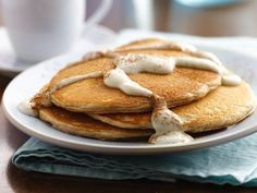 Snickerdoodle Pancakes with Warm Vanilla Sauce- oh yum!
