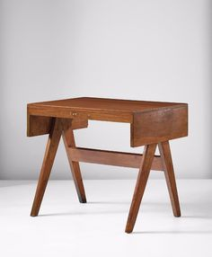 Pierre Jeanneret; Teak Student Desk from Chandigharh, c1960.