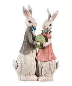 His & Her Rabbit Figurine by Evergreen #zulily #zulilyfinds