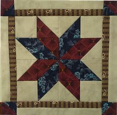 Block #13 - Pattern is North Star to Freedom. Designed by Joyce Weeks and Norma Whaley  of Geoff's Mom Pattern Co..