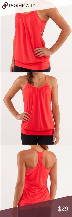 Lululemon No Limits Tank Love Red the thin straps and racerback cut allow you to twist with ease Circle Mesh is moisture wicking the wide band around the hips keeps the tank in place  properties: four-way stretch, moisture wicking, anti-stink, chafe resistant, breathable fit: loose length: low hip  Color: Love red/Slope Stripe Love Red fiery red  Size: 4  Worn a few times, great condition. Tags have been removed. lululemon athletica Tops Tank Tops