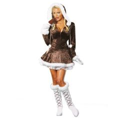 Eskimo Costume Eskimo Cutie Adult and Plus Size Costume Let'sRub Noses Together! Costume includes: Zip front, stretch crushed velvet dress with f Eskimo Halloween Costume, Costumes Sexy Halloween, Sexy Adult Costumes, Costume Sexy, Costumes For Women, Halloween Ideas, Fun Costumes, Theatre Costumes, Adult Halloween