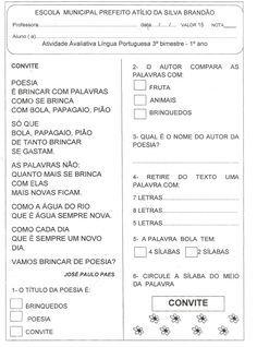 ALFABETIZAÇÃO SOLIDÁRIA: Avaliação Lingua Portuguesa 3º bimestre - 1° ano
