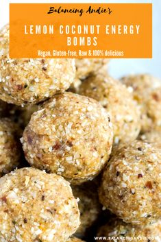 Vegan Lemon Coconut Energy Bombs - perfect as a snack on the go! Grain-free, Dairy-free, Refined Sugar-free aka the perfect energy ball! Healthy Protein Snacks, Protein Bites, Healthy Sweets, High Protein, Healthy Breakfasts, Sugar Free Snacks, Dairy Free, Grain Free, Gluten Free