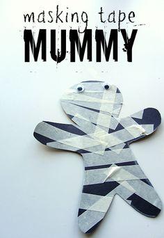 masking tape mummy toddler craft