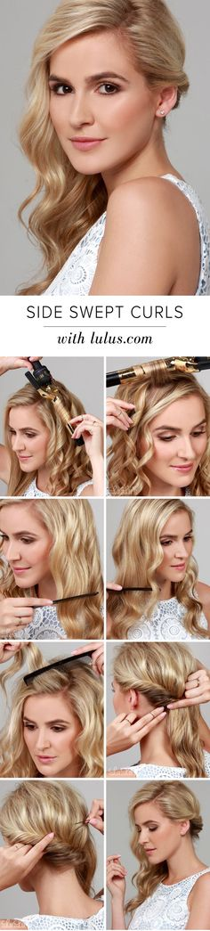 Lulus HowTo Side Swept Curls Hair Tutorial My Style Hair - wavy hairstyles diy wavy hairstyles volume Formal Hairstyles, Curled Hairstyles, Pretty Hairstyles, Easy Hairstyles, Wedding Hairstyles, Hairdos, Side Swept Hairstyles, Dance Hairstyles, Latest Hairstyles