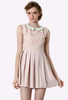 $69.90 Peach Floral Embroidered Peter Pan Collar Dress - Party - Dress - Retro, Indie and Unique Fashion