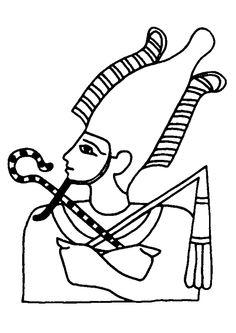 Portrait d'un pharaon, à colorier.