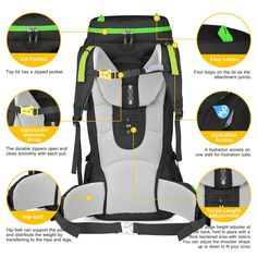 Mountaintop 60L Internal Frame Backpack Hiking Backpacking Packs with Rain Cover YKK zipper buckle-M6012
