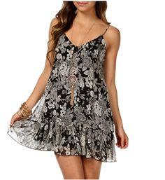 Black/Ivory/Gray Floral Sleeveless Dress