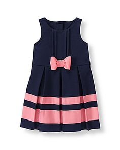 Girl Navy Ribbon Stripe Ponte Dress by Janie and Jack. Imported and Riviera Chic Baby Girl Frocks, Frocks For Girls, Kids Frocks, Little Dresses, Little Girl Dresses, Cute Dresses, Girls Dresses, Summer Dresses, Toddler Dress