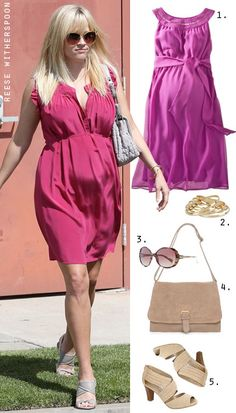 Reese Witherspoon's Pink Dress and Neutral Sandals Maternity Outfits, Pregnancy Outfits, Maternity Style, Maternity Fashion, Pregnancy Looks, Pregnancy Style, Pregnancy Fashion, Neutral Sandals, Style Fashion
