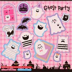 cute square memo pad from Japan with Origami paper with ghosts, bats and cats etc.