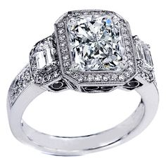 Three Stone Radiant Cut Diamond Engagement Ring Setting Vintage Style in 14K White Gold