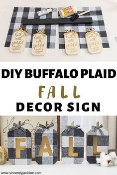 DIY dollar store home decor. This buffalo plaid fall decor idea is perfect for fall! The buffalo check sign can be styled in many ways and the best thing is a majority of the items are from Dollar Tree or the Dollar Store. Dollar Tree Fall, Dollar Tree Decor, Dollar Tree Crafts, Decor Crafts, Fall Crafts, Decor Diy, Diy Home Decor On A Budget, Diy Home Decor Bedroom, Decor Ideas