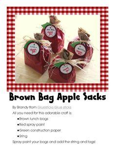 Back to school brown bag apple sacks, too cute!