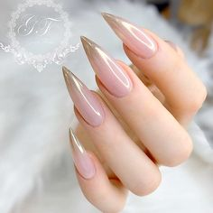 Elegant soft almond nail shape with shiny soft pink and gold shimmer ombre design! Beautiful nails by 😍 Ugly Duckling Nails page is dedicated to promoting quality, inspirational nails created by International Nail Artists💖 Elegant Nail Designs, Ombre Nail Designs, Elegant Nails, Nail Art Designs, Nail Swag, Cute Nails, Pretty Nails, Hair And Nails, My Nails