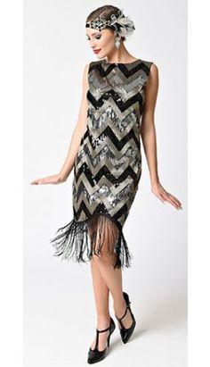 1920s Style Black & Silver Sequin Chevron Sleeveless Fringe Flapper