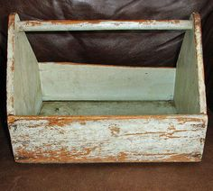 """Antique PAINTED Primitive Wood Tool Box Carrier Tray Tote ~ from """"Wild Goose Chase Antiques & Collectibles"""" shop on Ruby Lane"""