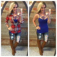 Penny Plaid Flannel Top: Red Multi from privityboutique