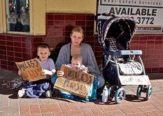 This is an example of a homeless family.  When adults lose their jobs and become homeless, it not only affects them but also their family