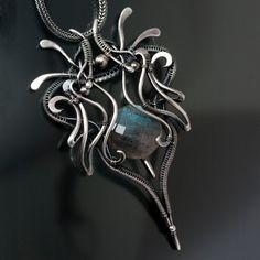 Labradorite Necklace  Fine Silver Necklace  Luna by sarahndippity, $280.00