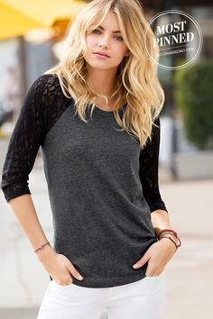 Stretchy lace raglan sleeves add feminine charm to our baseball tee. | Lace Baseball Tee - so cute!