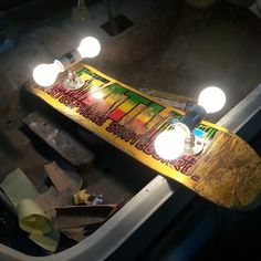 Skateboard Lamps recycled skateboard stools transform thrashed boards to treasure