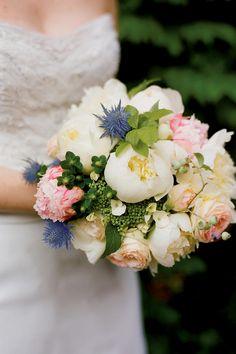 Bride's Bouquet: White Peonies, Pink Peonies, Blush Roses, White Berries, Blue Eryngium Thistle, Green Hypericum Berries, Green Riceflower, Greenery
