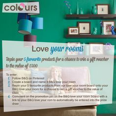 Enter our competition for your chance to win a gift card up to the value of Create A Board, Gift Vouchers, Competition, Love You, Desk, Rooms, Colours, Dining, Cards