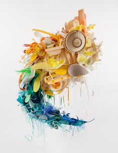Above: Kamilo, 2011. Suspended sculpture, approximately 4′ x 3′ x 4 1/2′, 100% plastic marine debris from Kamilo Point, Hawaii. Photo by Marshall Coles.ar-kamilo