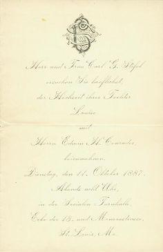 Wedding invitation of Louise Stifel to Edwin H. Conrades, October 11, 1887. Missouri History Museum. collections.mohistory.org #victorianwedding #vintagewedding