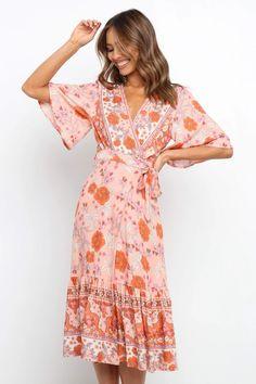 Orlina Dress - Pink - Petal & Pup Professional Wardrobe, Pink Petals, Short Sleeves, Long Sleeve, Wrap Style, Pink Dress, Fashion Dresses, Printed Dresses, Casual