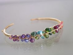 Rainbow Gemstone Gold Filled Cuff, Encrusted Stacking Bracelet, Colorful, Tanzanite, Tourmaline, Sapphire, Original Design, Signature