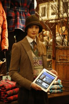 replace tablet with book and you have my heart Preppy Style, Her Style, Estilo Ivy, British Country Style, Tartan, Countryside Fashion, Tweed Ride, Retro Fashion, Vintage Fashion