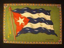 CUBA FLAG Early 1900s Tobacco Cigar Cigarettes Silks Felt Rug Dollhouse