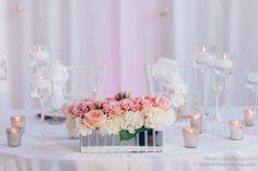 la-vie-en-rose-wedding-reception-sweetheart-table-low-mirrored-vase-white-pink-hydrangea-mercury-votive-floating-candle-drape-the-vault-downtown-tampa-florida