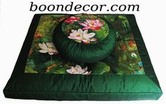 Meditation Cushion Set Zafu & Zabuton - Lotus Lake Blossoms Watercolor