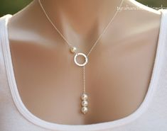 Items similar to Sterling silver Karma Pearl Lariat Y Necklace,bridesmaid gift,wedding bridal jewelry,birthday gift on Etsy Minimal Jewelry, Stylish Jewelry, Cute Jewelry, Wedding Jewelry, Fashion Jewelry, Gift Wedding, Bead Jewellery, Beaded Jewelry, Jewelery