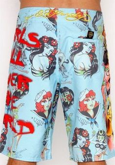 Ed Hardy Men's Beach Shorts