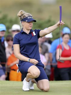 England's Charley Hull lines her putt on the 9th green during the third day of the Women's British Open golf championship on the Royal Birkdale Golf Club, Southport, England, Saturday, July 12, 2014. (AP Photo/Scott Heppell) ▼12Jul2014AP|Charley Hull back in the mix with a 66 http://bigstory.ap.org/article/charley-hull-back-mix-66 #Womens_British_Open_2014 #Charley_Hull