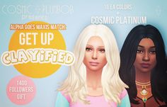Cosmic Plumbob Presents: Clayified Hairstyles - Alpha Goes Maxis Match - 1400 Followers Gift Recently I reached 1400 Followers, and to thank u guys I decided to do something new. I've been so busy...