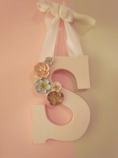 Custom Wood Letters-pink Crackle With Paper Flowers