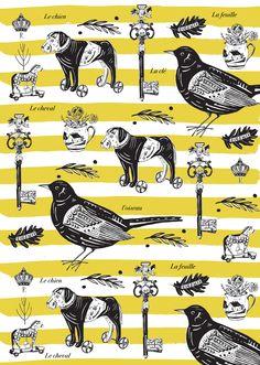 Emily Maude, pattern, stripes, bird, key, design, vintage feel, drawing, illustration, yellow, print, printmaking