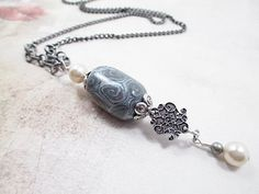 Silver Lariat Necklace Beaded Jewelry Upcycled Handmade Bead Jewelry Victorian Goth Steampunk White Metallic Pearl Bead Jewelry. $25.00, via Etsy.