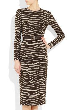 MICHAEL KORS  Belted zebra-print stretch-crepe dress
