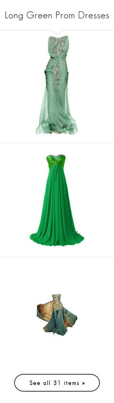 """""""Long Green Prom Dresses"""" by xxbeauty4rmpainxx ❤ liked on Polyvore featuring dresses, gowns, vestidos, long dresses, green evening gown, long green evening dress, green gown, tony ward evening gowns, green and green color dress"""