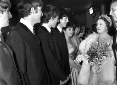 4th November 1963:  Queen Elizabeth The Queen Mother (1900 - 2002) talking to British pop group The Beatles after a Royal Variety Show at the Prince of Wales Theatre, London.  (Photo by George Freston/Fox Photos/Getty Images) via @AOL_Lifestyle Read more: http://www.aol.com/article/2016/10/13/queen-elizabeth-initially-told-not-to-marry-too-funny-prince-p/21582397/?a_dgi=aolshare_pinterest#slide=3031690